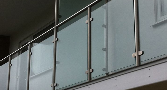 iron railings and glass partition